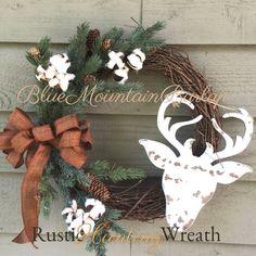 Rustic Deer Grapevine Wreath Fall Wreath, Hunting Wreath by BlueMountainBurlap