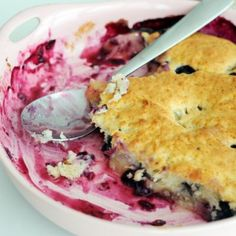Blueberry Peach Cobbler  Could use any berries in place of blueberries