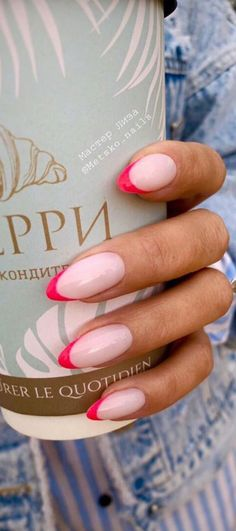 French Fade Nails, French Tip Acrylic Nails, Faded Nails, French Manicure Nails, Dope Nails, Cute Acrylic Nails, Swag Nails, Colorful French Manicure, Colored French Nails