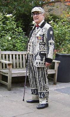 Larry Barnes ( May 16th 1926 – July 2nd 2011), late Pearly King of Thornton Heath and one of Variety Theatre's last specialist acts.