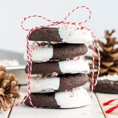 The classic combination of chocolate and peppermint make these Dark Chocolate Candy Cane Cookies the perfect treat for the holidays!