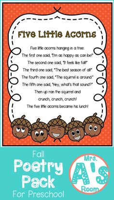 These fall poems are perfect for your preschool or kindergarten class! These poetry packs are full of ideas and activities for your shared reading time, and your kiddos will love them! Kindergarten Poems, Preschool Poems, Fall Preschool Activities, Preschool Music, Kids Poems, Preschool Lessons, Preschool Learning, Preschool Thanksgiving Songs, Preschool Fall Theme