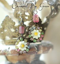 Daisy Jane earrings  vintage assemblage earrings by crownedbygrace