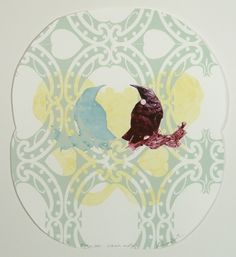 Vanessa Edwards, Manu ora, mau mate (guardian birds), drypoint & screenprint on 250 x 250 mm paper, from an edition of 2, 2013. NZ$460 incl GST framed; NZ$290  incl GST unframed.