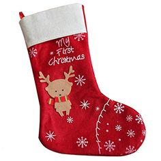 ckerchen Merry Christmas red my First Christmas tree stand Hanging 118x137 inch Christmas deer socks Gift party decorpack of 4 >>> You can get more details by clicking on the image.