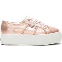 Superga 2790 Metallic Platform Sneaker ($110) ❤ liked on Polyvore featuring shoes, sneakers, superga trainers, rubber sole sneakers, laced shoes, laced up shoes and platform trainers