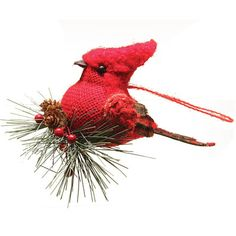 """Northlight Burlap and Plaid Cardinal on Pine Sprig Christmas Ornament Size: 4.5"""" H x 4"""" W x 4.75"""" D"""