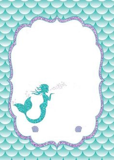 Print out on card stock and then type up first time at the beach and print out on top of. Mermaid Theme Birthday, Little Mermaid Birthday, Little Mermaid Parties, Mermaid Party Invitations, Birthday Party Invitations, Mermaid Baby Showers, Barbie Party, 1st Birthday Parties, 12th Birthday