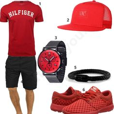 Rot-Schwarzes Herren-Outfit mit Detomaso Uhr (m0461) #outfit #style #fashion #menswear #mensfashion #inspiration #shirt #cloth #clothing #männermode #herrenmode #shirt #mode #styling #sneaker #menstyle