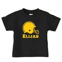 Personalized football helmet t-shirt for boys, football shirt