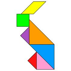 Tangram Rabbit - Tangram solution - Providing teachers and pupils with tangram puzzle activities Tangram Printable, Tangram Puzzles, Dots Game, Fidget Quilt, Pattern Blocks, Problem Solving, Rabbit, Teacher, Letters