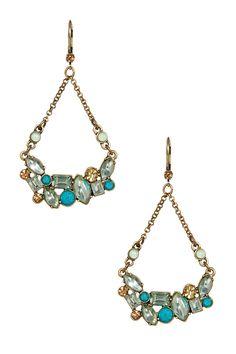 Mint Multi Cluster Hanging Earrings