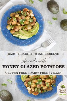 This roasted honey glazed potatoes and garlic with avocado recipe is an easy, healthy lunch choice. Avocado Recipes, Lunch Recipes, Summer Recipes, Vegetarian Recipes, Healthy Recipes, Dried Potatoes, Roasted Potatoes, Roasted Potato Recipes, Honey Glaze