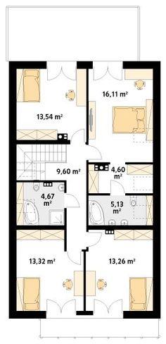 Projekt domu MT Amarylis 4 paliwo stałe CE - DOM - gotowy koszt budowy Modern Bungalow House, Rustic House Plans, House Floor Plans, Future House, Planer, Kitchen Design, Sweet Home, House Design, Flooring