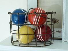 Basket of croquet balls