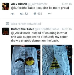"""I wil think about Jesus"" *Child draws a demonic dorito on the back* Gravity Falls Funny, Gravity Falls Comics, Alex Hirsch, Fall Memes, Mabill, Reverse Falls, Billdip, Frisk, Cartoon Shows"