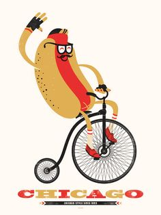 This hot dog knows how to get around town! Three color screen print on natural poster weight paper. Find a frame for this print here. If purchased together, artwork will arrive framed and ready to hang. Size: x by: Delicious Design League in Chicago, IL Chicago Hot Dog, Chicago Style, Chicago City, Screen Print Poster, Poster Prints, Art Prints, Chicago Shopping, Bicycle Art, Inspirational Posters
