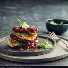 Beetroot Fritters with Halloumi and Lemon Ginger Dressing - serve with rocket. Omit carrot and add extra beetroot, so much tastier :) yum