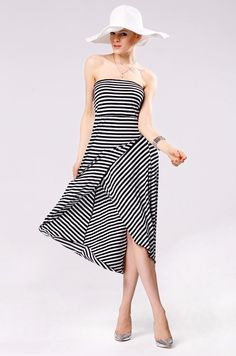 Sexy Strapless Striped Casual Dress