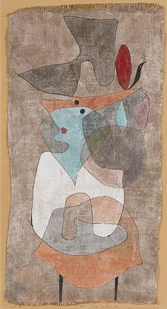 """Hat, Lady and Little Table (Hut, Dame und Tischchen),"" 1932, Paul Klee. Gouache and watercolor on plaster-primed burlap, mounted on board; 26¼ x 14¼ inches (66.7 x 36.2 cm). The Solomon R. Guggenheim Museum, New York."