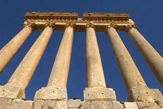 The 6 remaining Roman columns of the Temple of Jupiter, Baalbek, Bekaa Valley, Lebanon