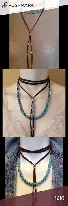 "Boho Leather & Turquoise Beaded LARIAT Necklace The Canyon LARIAT by FP features genuine Brown deerskin leather, genuine turquoise with silver tribal shaped beads. Adjustable to 74"" long. Make a gorgeous impact with this amazing lariat necklace. This piece is designed so that you can wear in several different ways. I paid $165 for it. PRICE is FIRM and well worth it. Ask questions before buying not returnable. ❤️️ Free People Jewelry Necklaces"