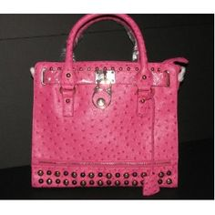 Faux Ostrich Leather Pink FUSCHIA Studded Handbag Purse Satchel Designer INSPIRED