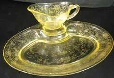 Florentine Depression Glass...My Antique Dishes..I have yellow and green!