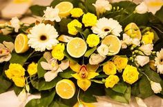 Shades of Yellow - Roses, Gerber Daisies, Orchids and Lemons. #flower spray