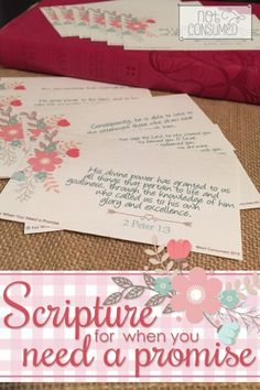 Somewhere between that moment of impossibility and that glimmer of hope, we find scripture. It's everything we need for those moments when we are desperate for a promise. Scripture Cards, Scripture Study, Bible Scriptures, Bible Study For Kids, Bible Study Tools, Inspirational Bible Quotes, Faith Quotes, Prayer Jar, Happy Mom