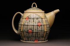 Tea would taste beautiful out of this. Teapots And Cups, Ceramic Teapots, Ceramic Art, Contemporary Teapots, Cute Teapot, Teapots Unique, Ceramic Pitcher, The Potter's Wheel, Tea Art