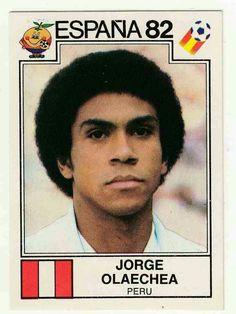 Jorge Olaechea of Peru. 1982 World Cup Finals card.
