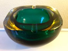 Vintage Murano Geode Cased Glass Ashtray Bowl by JigsandLarry