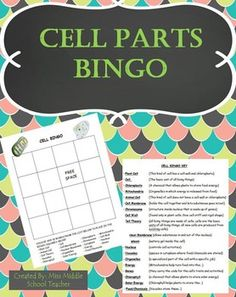 Cell Bingo: This is a bingo game that I created for my middle school science students to review key vocabulary from our cell parts unit. Students fill their card with any words from the list and I call out the definition. If they know the definition and have the word on their card, they mark it.