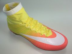 SR4U Reflective Yellow Soccer Laces on Nike Womens Mercurial Superfly 4 Radiant Reveal Pack
