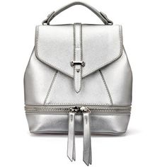 Yoins Leather-Look Mini Backpack in All Silver