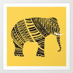 Endangered elephant - yellow Art Print by Farnell - $18.72