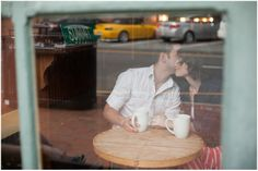 Coffee shop engagement session, through the window | Davidson Engagement Photographer | Samantha Laffoon Photography