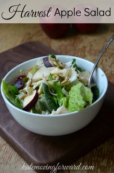 This salad is SOO good! Made with fresh greens, deli turkey, apples, bruchetta jack cheese, and pumpkin seeds! The perfect healthy lunch--great as a mason jar salad too!