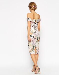 Image 2 ofASOS WEDDING Bardot Floral Off Shoulder Pencil Dress
