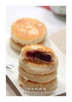 【Pan Fried Purple Sweet Potato Cakes】 by MaomaoMom This Chinese dessert can be served as an appetizer or after the meal. Its special homemade layered dough wrapper and sweet filling make you keep wanting for one more