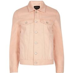 River Island Light pink denim jacket ($64) ❤ liked on Polyvore featuring men's fashion, men's clothing, men's outerwear, men's jackets, dad, jackets, pink, mens tall outerwear, mens denim jacket and mens pink jacket