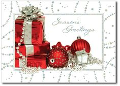 Christmas cards feature Christmas presents and ornaments of red and silver on the front of this holiday card