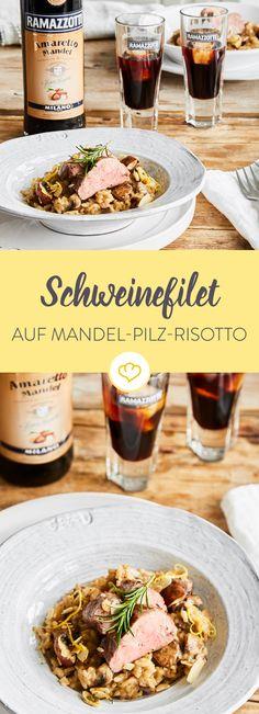 Gebratenes Schweinefilet mit Mandel-Pilz-Risotto