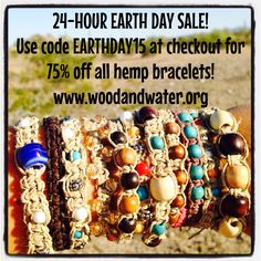 Earth Day Sale! 75% Off Hemp Bracelets! 24 Hours Only HURRY! Repin today!!