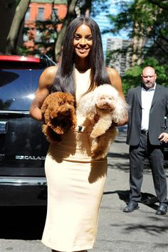 "Ciara posed with her dogs, Texas and Tyson, as she arrived for an appearance on ""Live! with Kelly and Michael"" in New York City on Aug. 10, 2015."