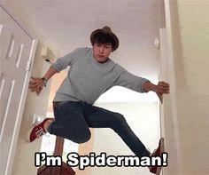 Jc as Spiderman, haha he's so cute ;D {GIF}