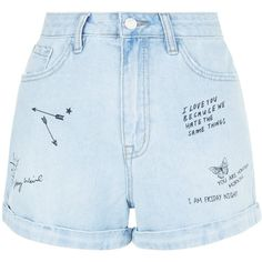 New Look Pale Blue Denim Graffiti Print Turn Up Mom Shorts (€13) ❤ liked on Polyvore featuring shorts, bottoms, short, denim shorts, pale blue, denim short shorts, new look shorts, short jean shorts and jean shorts