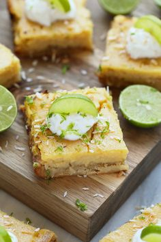 These easy coconut key lime pie bars are one of the tastiest healthy desserts on Fit Foodie Finds! They are naturally sweetened with honey and have a delicious coconut crust.