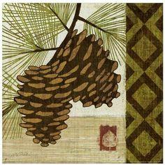 Summer Pine II by Eazl Walnut Canvas Image Box